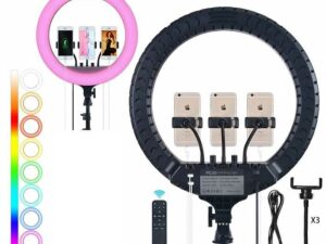 ZB-F458 Ring LED RGB Light and Stand for Smartphone + Camara and Livestream