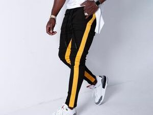 Black With Yellow Line Joggers