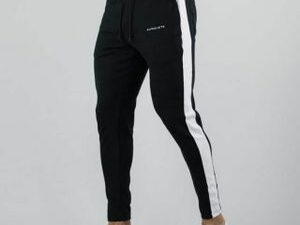 Black With White Line Joggers