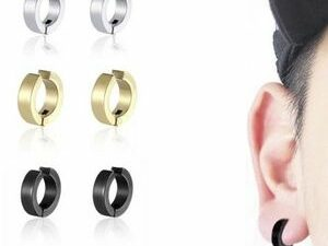 Luxurious 3 Pairs6 Pieces Painless Non Piercing MenWomen Round Hoop Stainless Steel Earring